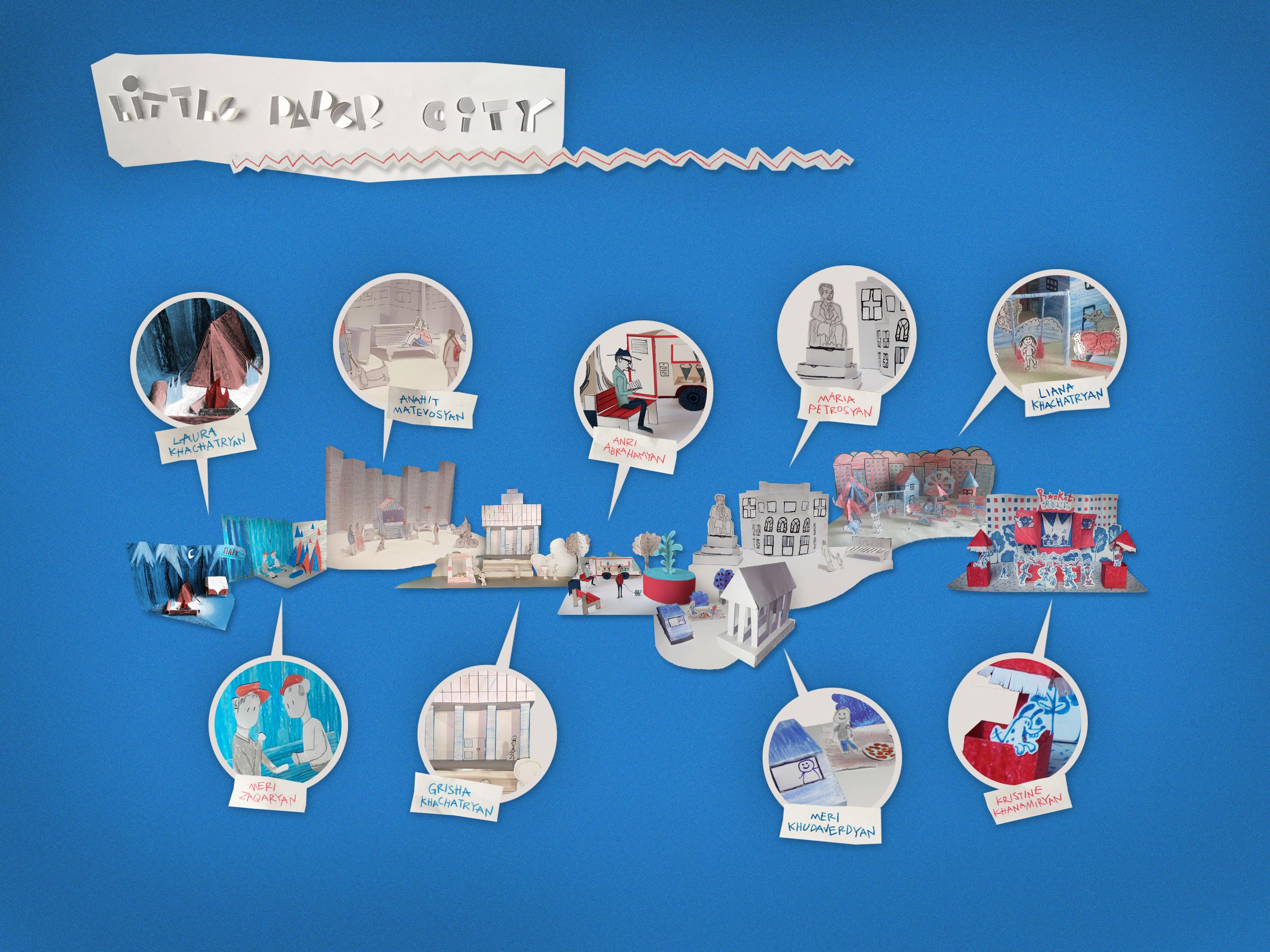 collage blue - Փոքր թղթե քաղաքներ տանը